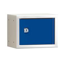 Uzamykatelný box na osobní věci Cube, 150x200x150 mm, bílá/modré dveře