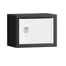 Uzamykatelný box na osobní věci Cube, 150x200x150 mm, černá/bílé dveře