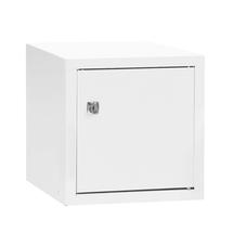 Uzamykatelný box na osobní věci Cube, 270x270x350 mm, bílá/bílé dveře