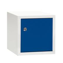 Uzamykatelný box na osobní věci Cube, 270x270x350 mm, bílá/modré dveře