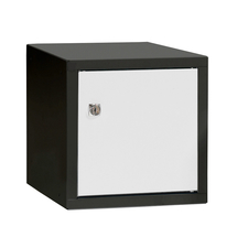 Uzamykatelný box na osobní věci Cube, 270x270x350 mm, černá/bílé dveře
