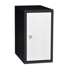 Uzamykatelný box na osobní věci Cube, 450x250x400 mm, černá/bílé dveře