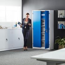 Kancelářská skříň Style, 1900x1000x400 mm, bílá, modré dveře