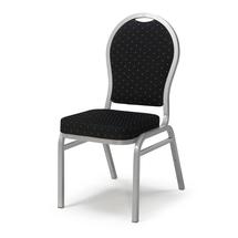 Banketová židle Seattle, černá, hliníkově šedý rám
