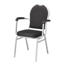 Banketová židle Seattle, s područkami, černá, hliníkově šedý rám