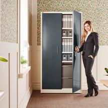Kovová skříň Swift, 1950x990x450 mm, bílá, antracitové dveře