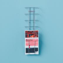Zásobník na prospekty, nástěnný, 6x A4, stříbrný