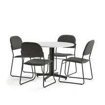 Sestava Sanna + Dawson, 1 stůl a 4 antracitové židle