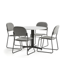 Sestava Sanna + Dawson, 1 stůl a 4 světle šedé židle