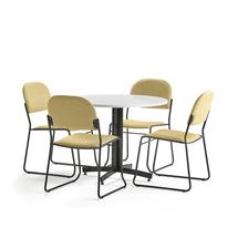 Sestava Sanna + Dawson, 1 stůl a 4 žluté židle