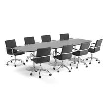 Sestava Avery + Delta, 1 stůl a 8 černých židlí