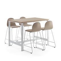 Sestava Various + Gander, 1 stůl a 4 barové židle, béžové