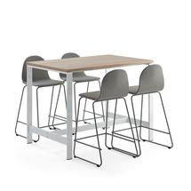 Sestava Various + Gander, 1 stůl a 4 barové židle, zelenošedé