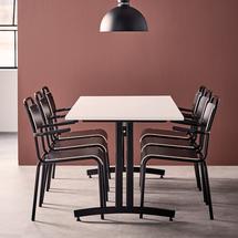 Jídelní set Sanna + Frisco, 1 stůl a 6 černých židlí
