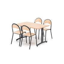 Jídelní sestava Sanna + Tampa, 1 stůl 1200x800 mm + 4 židle, buk/černá