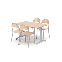 Jídelní sestava Sanna + Tampa, 1 stůl 1200x800 mm + 4 židle, buk/hliníkově šedá