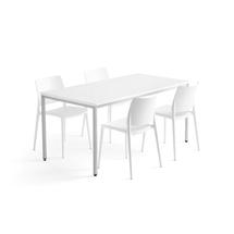 Jídelní sestava Modulus + Rio, 1 stůl 1600x800 mm + 4 bílé židle