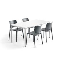 Jídelní sestava Modulus + Rio, 1 stůl 1600x800 mm + 4 antracitové židle