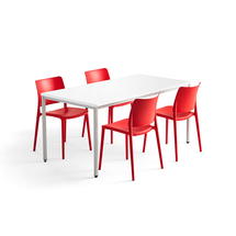 Jídelní sestava Modulus + Rio, 1 stůl 1600x800 mm + 4 červené židle