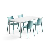 Jídelní sestava Modulus + Rio, 1 stůl 1600x800 mm + 4 tyrkysové židle