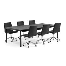 Sestava Modulus + Perry, 1 stůl a 6 šedých židlí