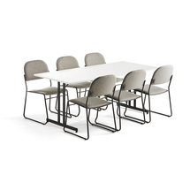 Sestava: 1x stůl Emily + 6x konferenční židle Dawson, světle šedá