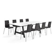 Sestava Nomad + Melville, 1 stůl a 8 tmavě šedých židlí