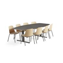 Sestava: 1x stůl Audrey, tmavě šedý + 8x konferenční židle Langford, žlutá