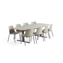 Sestava: 1x stůl Audrey, světle šedý + 8x konferenční židle Langford, světle šedá
