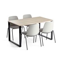 Jídelní set Modulus + Langford, 1 stůl a 4 šedé židle