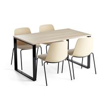 Jídelní set Modulus + Langford, 1 stůl a 4 žluté židle