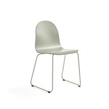 Židle Gander, ližinová podnož, lakovaná skořepina, zelenošedá
