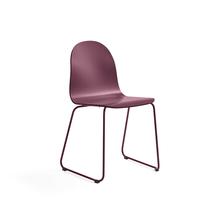Židle Gander, ližinová podnož, lakovaná skořepina, podzimní červeň