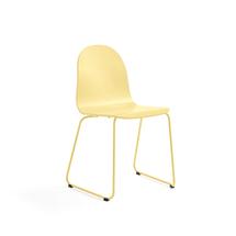 Židle Gander, ližinová podnož, lakovaná skořepina, hořčicová