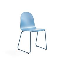 Židle Gander, ližinová podnož, lakovaná skořepina, modrá