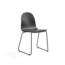 Židle Gander, ližinová podnož, lakovaná skořepina, černá