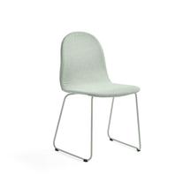 Židle Gander, ližinová podnož, polstrovaná, zelenošedá
