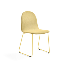 Židle Gander, ližinová podnož, polstrovaná, hořčicová