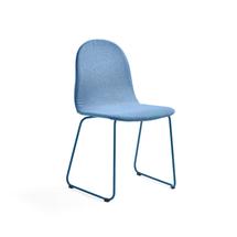 Židle Gander, ližinová podnož, polstrovaná, modrá