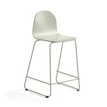 Barová židle Gander, výška sedáku 630 mm, lakovaná skořepina, zelenošedá