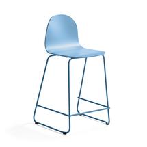 Barová židle Gander, výška sedáku 630 mm, lakovaná skořepina, modrá