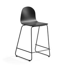 Barová židle Gander, výška sedáku 630 mm, lakovaná skořepina, černá