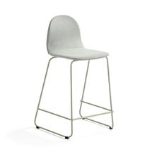Barová židle Gander, výška sedáku 630 mm, polstrovaná, zelenošedá