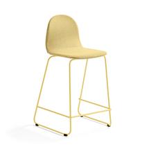 Barová židle Gander, výška sedáku 630 mm, polstrovaná, hořčicová