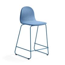 Barová židle Gander, výška sedáku 630 mm, polstrovaná, modrá