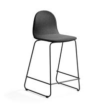 Barová židle Gander, výška sedáku 630 mm, polstrovaná, šedá