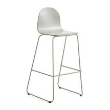 Barová židle Gander, výška sedáku 790 mm, lakovaná skořepina, zelenošedá
