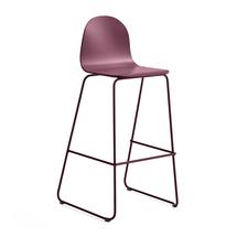 Barová židle Gander, výška sedáku 790 mm, lakovaná skořepina, podzimní červeň