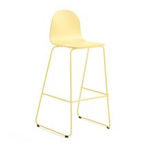 Barová židle Gander, výška sedáku 790 mm, lakovaná skořepina, hořčicová