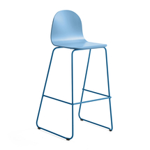 Barová židle Gander, výška sedáku 790 mm, lakovaná skořepina, modrá